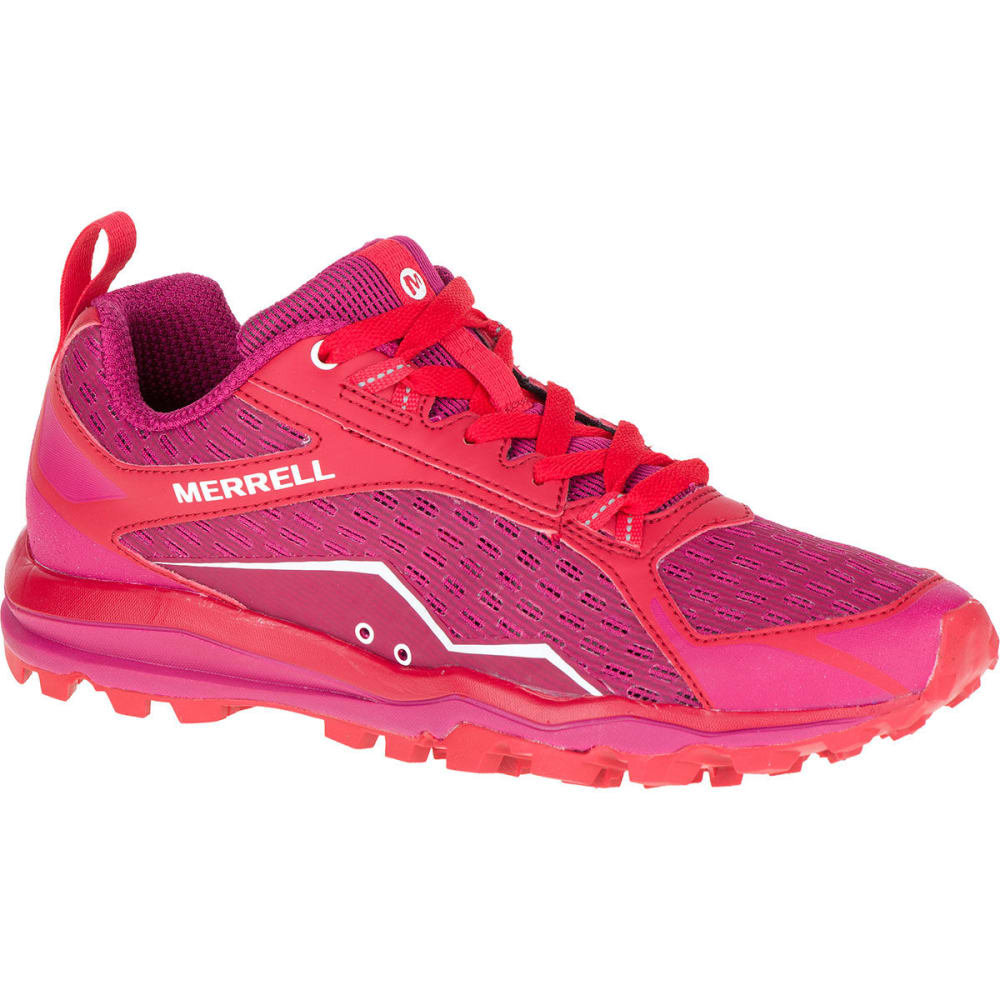 merrell s all out crush trail running shoes bright pink