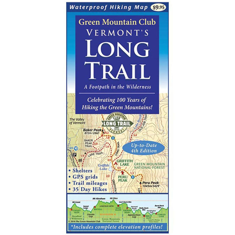 PEREGRINE OUTFITTERS Green Mountain Club Long Trail Guide Vermont Hiking Map - NO COLOR