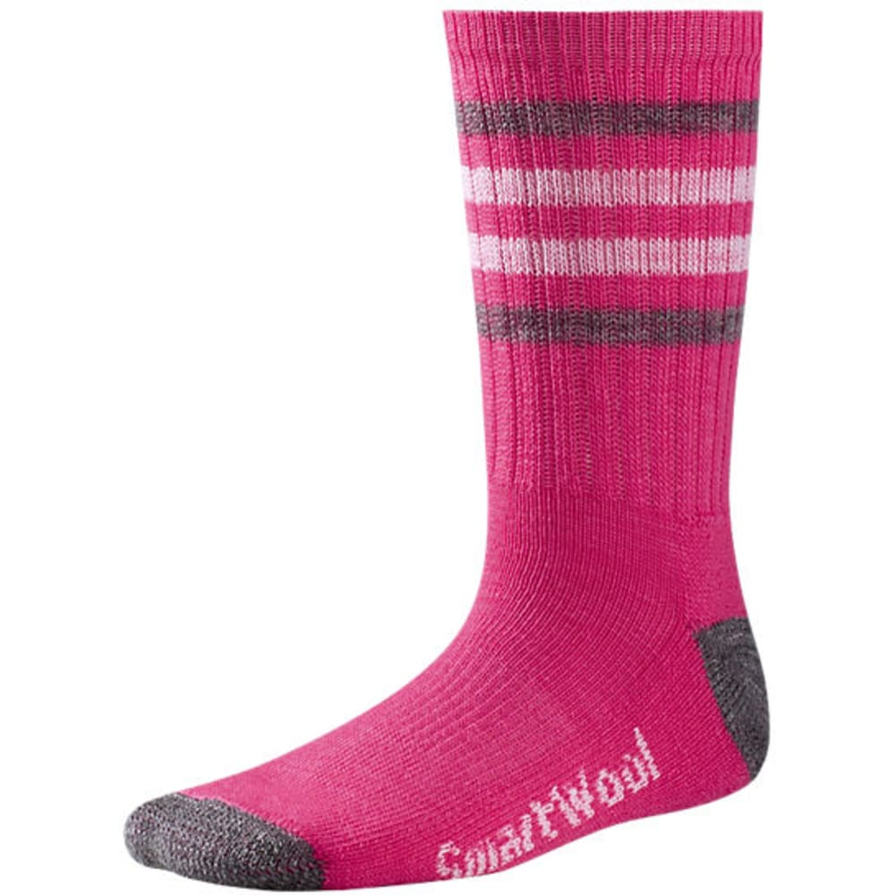 SMARTWOOL Kids' Striped Hike Light Crew Socks - BRIGHT PINK-684