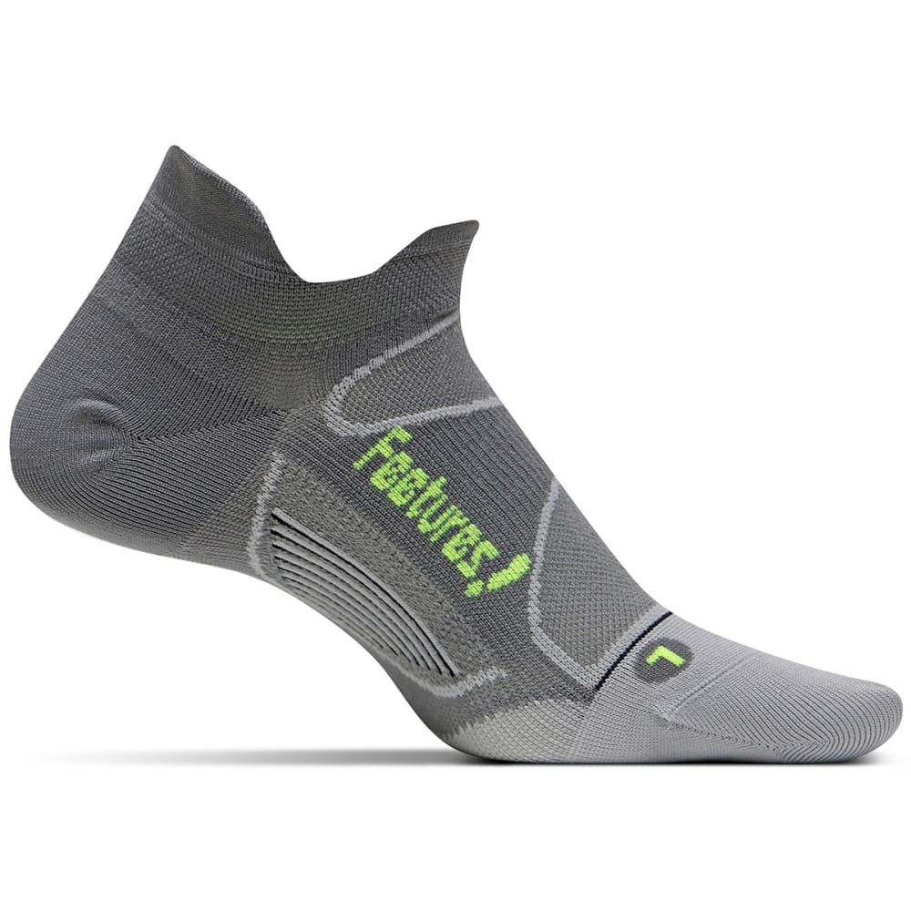FEETURES Unisex Elite Ultra Light No Show Tab Socks - GRAPHITE/REFLECT-003