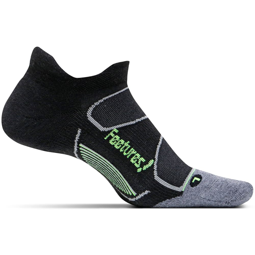 FEETURES Unisex Elite Max Cushion No-Show Tab Socks - BLACK/REFLECTOR-001