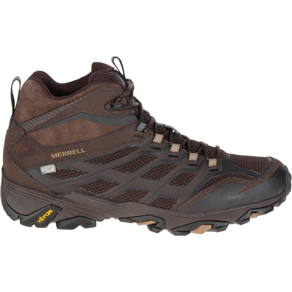MERRELL Men's Moab FST Mid Waterproof Boots, Brown - BROWN