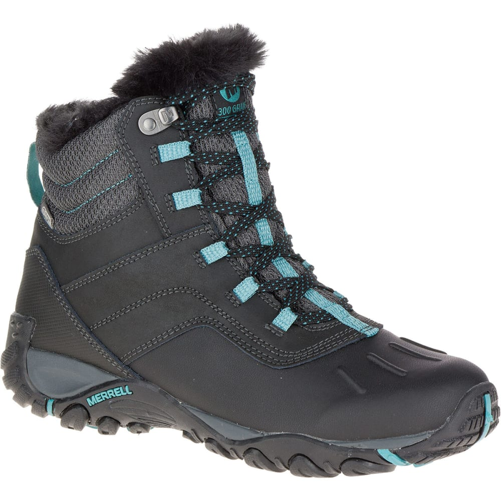MERRELL Women's Atmost Mid Waterproof Boots, Black - BLACK/BRITTANY BLUE