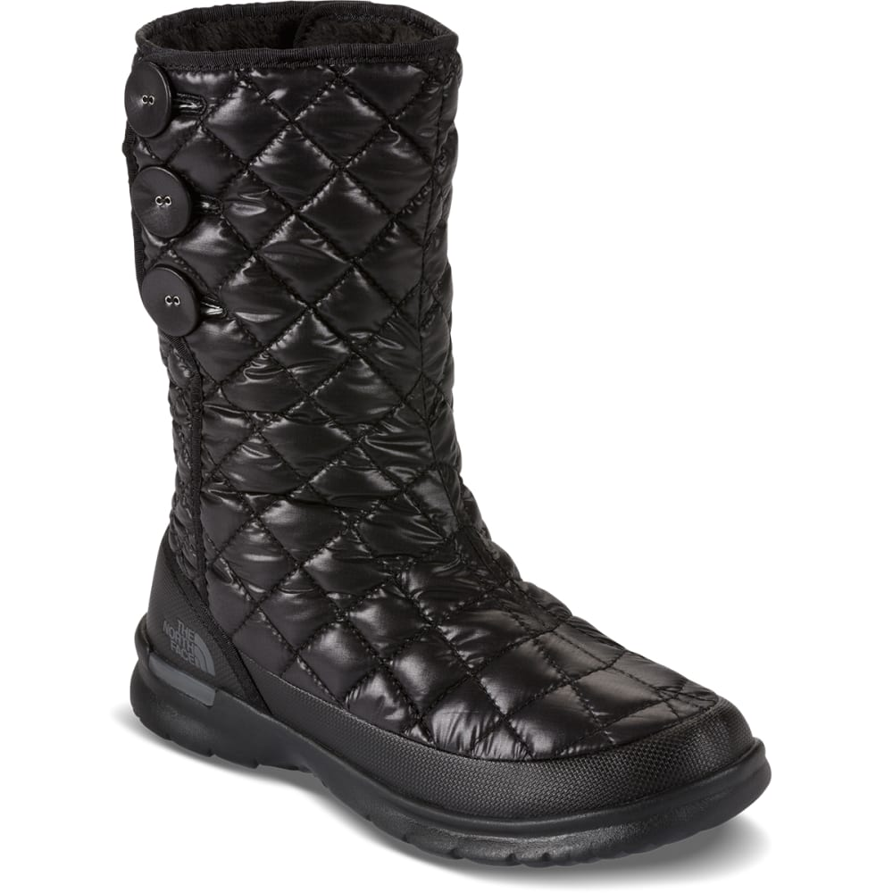 THE NORTH FACE Women's Thermoball Button-Up Boots, Shiny Black - BLACK/PEARL GREY