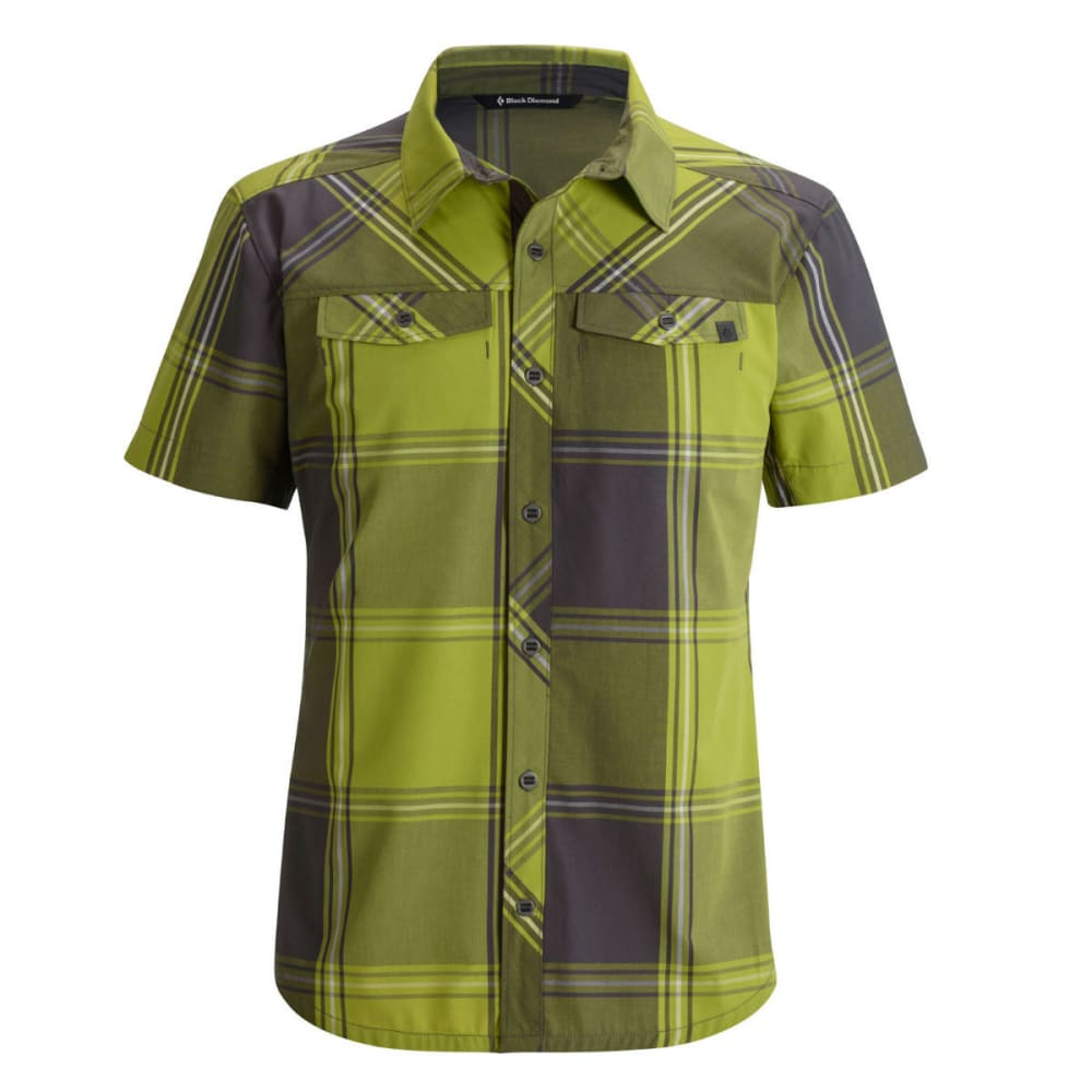 BLACK DIAMOND Men's Short-Sleeve Technician Shirt - GRASS/SLATE PLAID