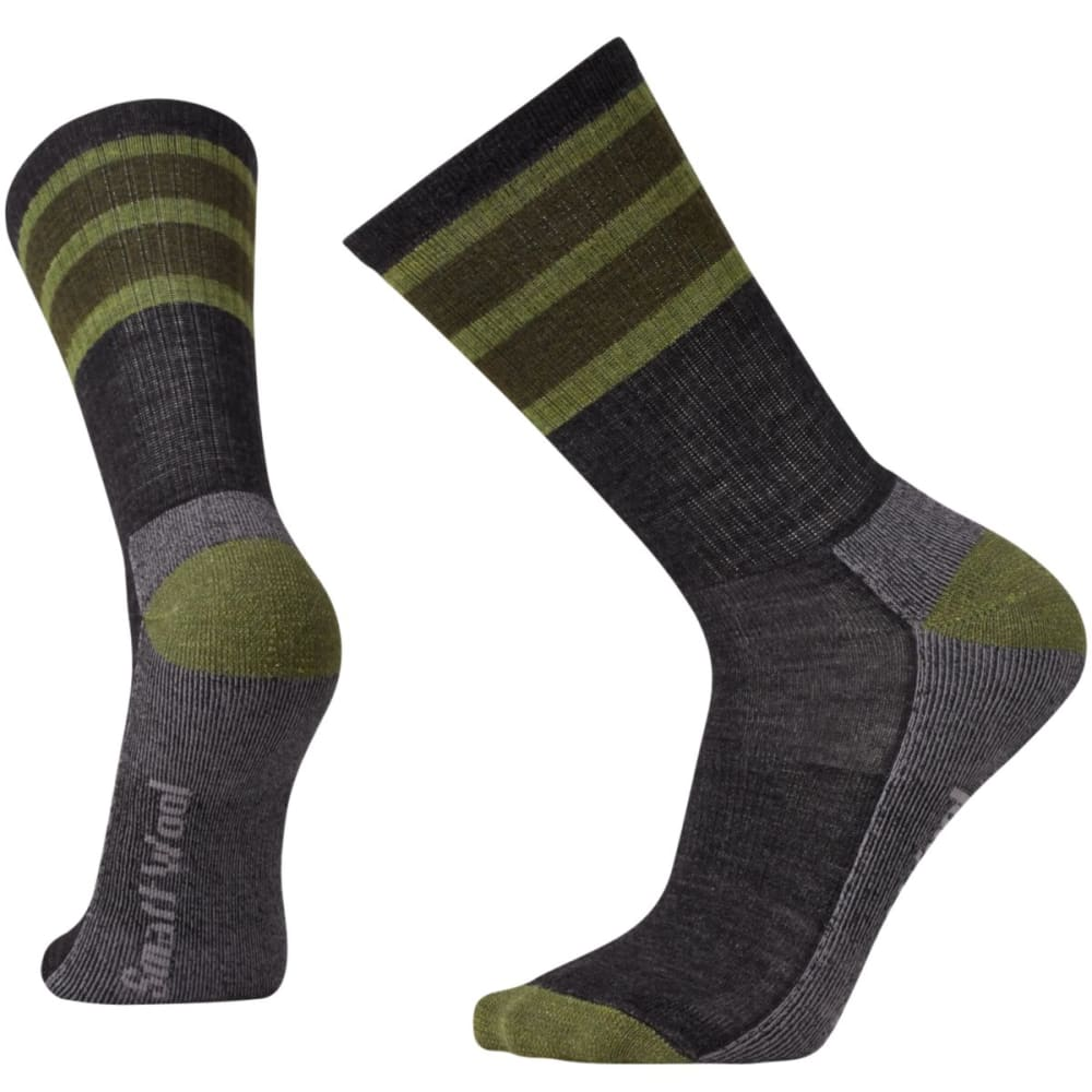 SMARTWOOL Men's Striped Hike Light Crew Socks - CHARCOAL 003