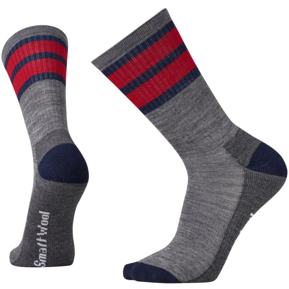 SMARTWOOL Men's Striped Hike Light Crew Socks - MED GRAY-052