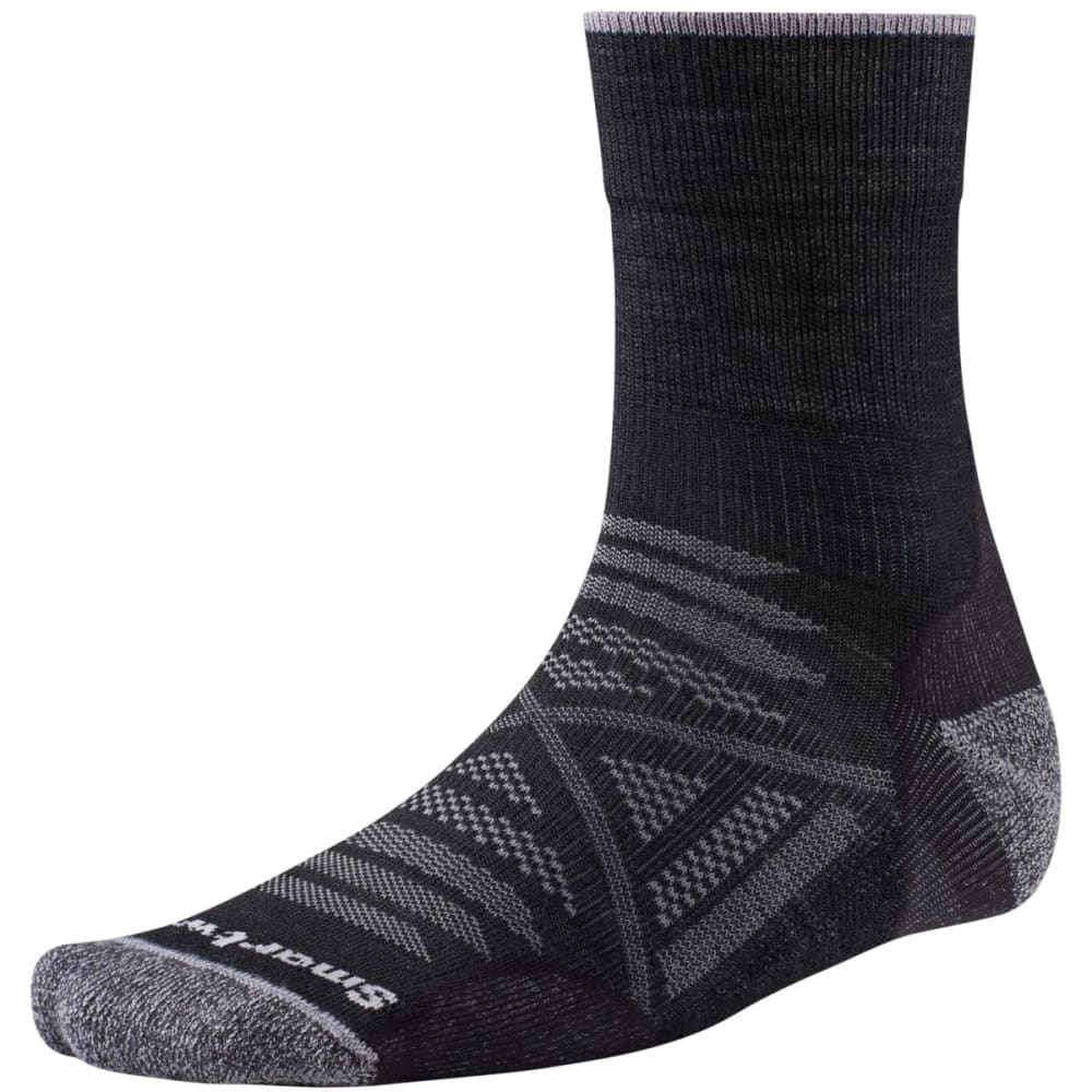 SMARTWOOL Men's PhD Outdoor Light Mid Crew Socks - BLACK 001