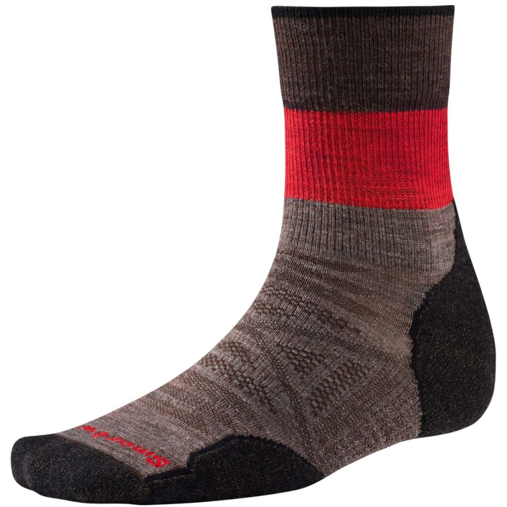 SMARTWOOL Men's PhD Outdoor Light Patterned Mid Crew Socks - TAUPE 236