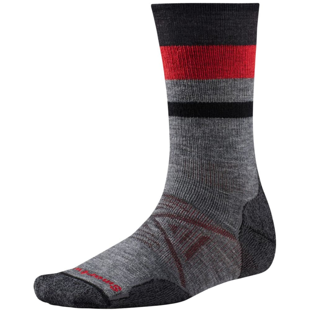 SMARTWOOL Men's PhD® Outdoor Medium Pattern Crew Socks - MEDIUM GREY 052