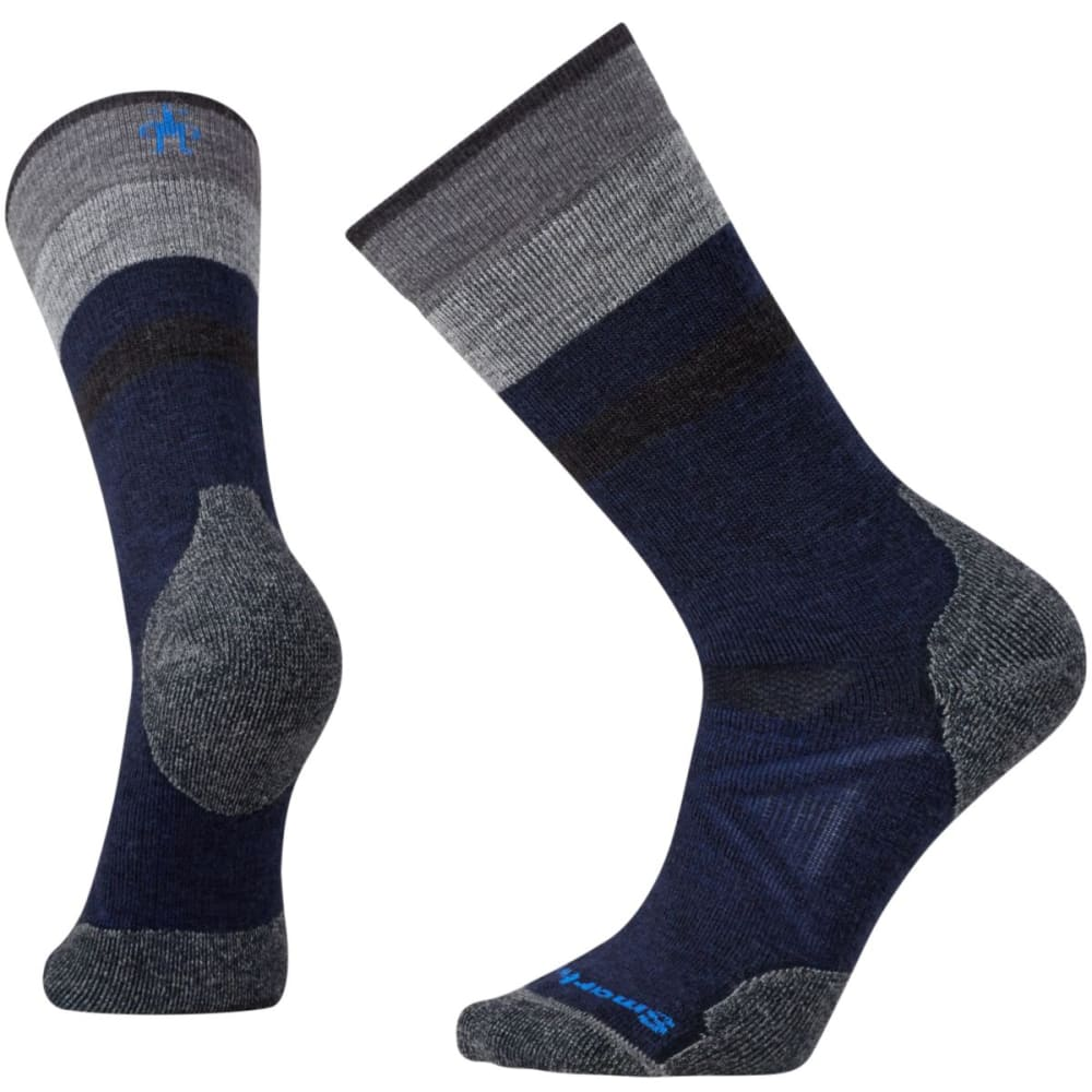 SMARTWOOL Men's PhD® Outdoor Medium Pattern Crew Socks - NAVY/GREY 431