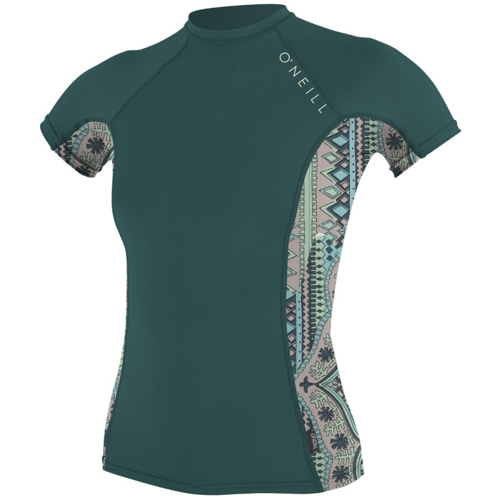 O'NEILL Women's Side Print Short-Sleeve Crew Rash Guard - DPTEAL/MAYA/DPTEAL B