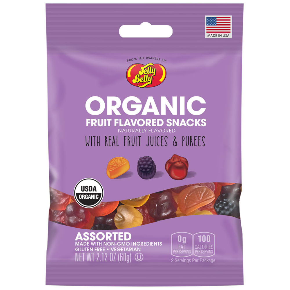 JELLY BELLY 2.12 oz. Organic Fruit Snacks - NO COLOR