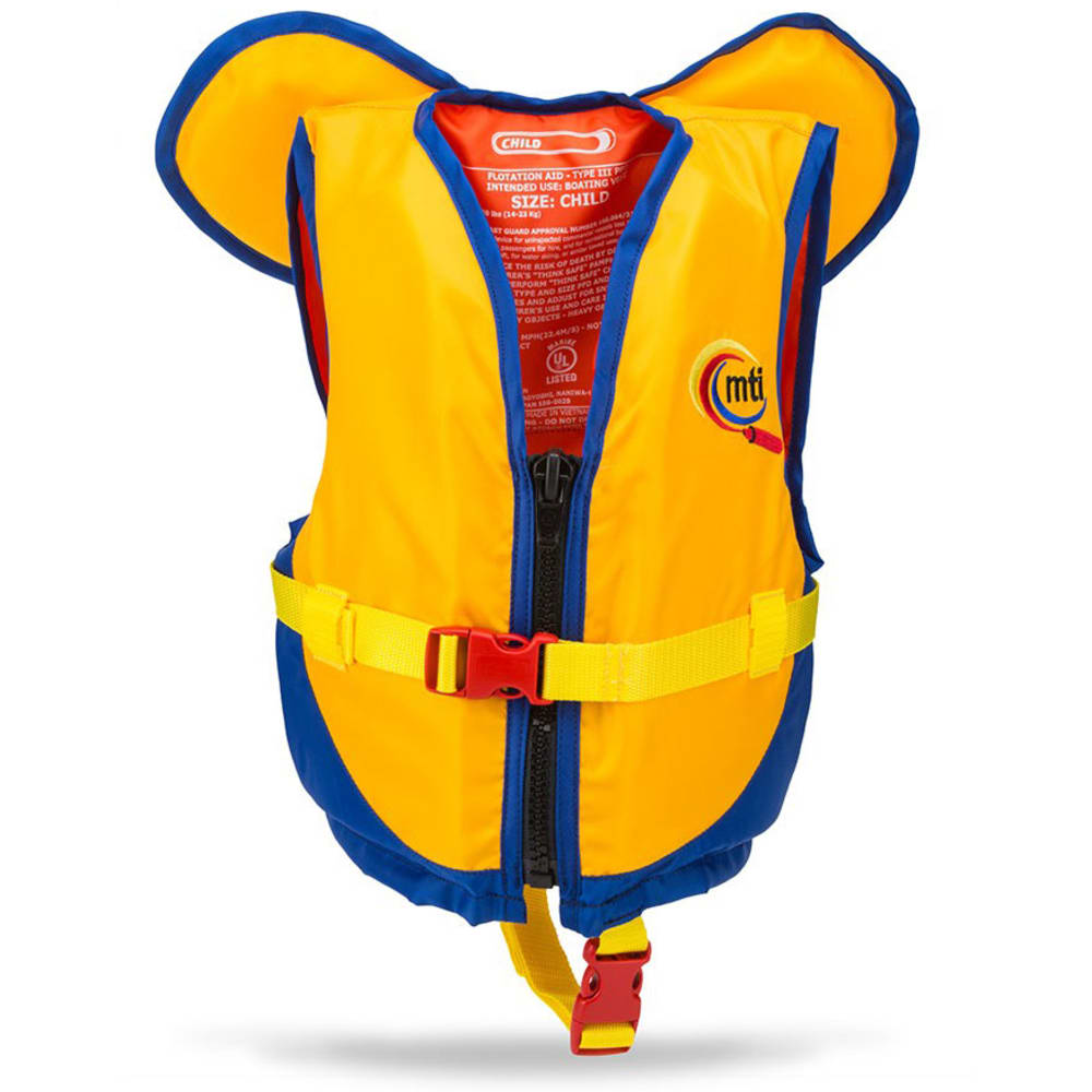 MTI Kids' PFD With Collar - MANGO/BLUE
