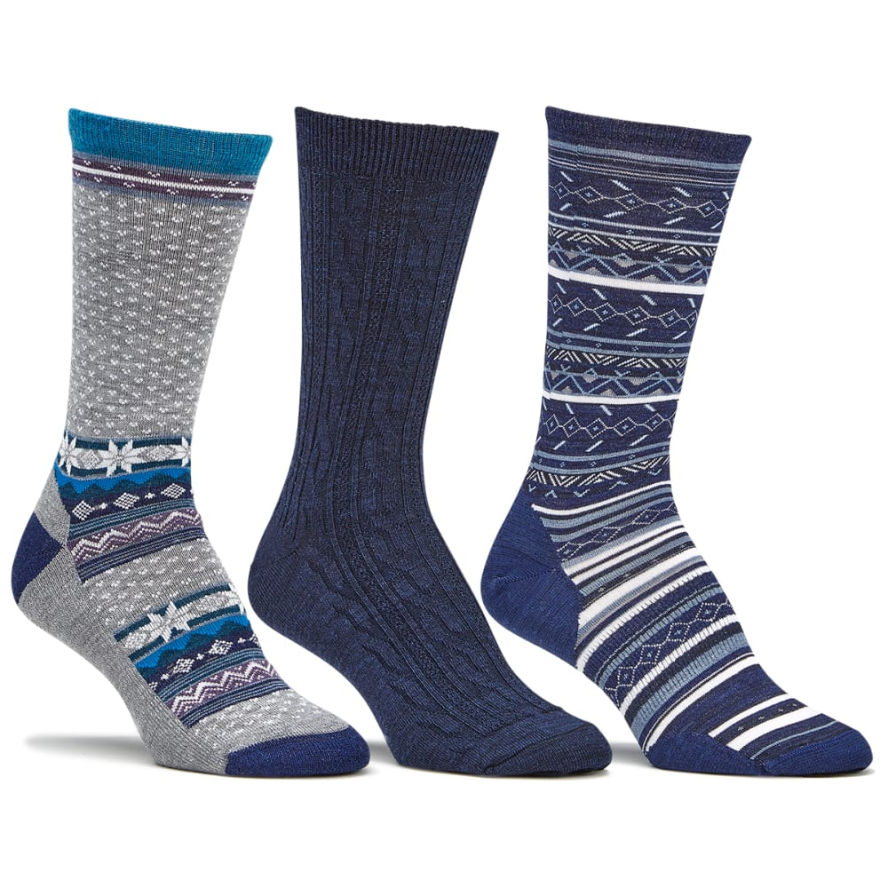 SMARTWOOL Women's Trio Sock Gift Set, Blue - INK HEATHER-110