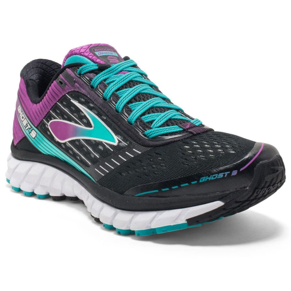 BROOKS Women's Ghost 9 Running Shoes, Black/Sparkling Grape - BLK/SPRKLNG GRP/CRMC