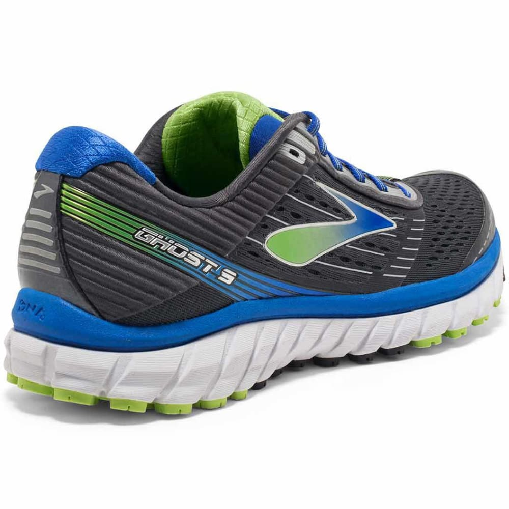 BROOKS Men's Ghost 9 Running Shoes, Wide, Anthracite/Electric Blue/Black - ANTHRACITE