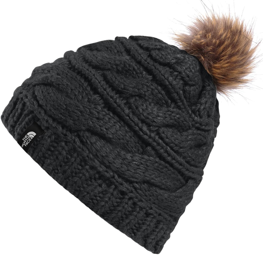 THE NORTH FACE Women's Triple Cable Fur Pom Beanie - LXB-BLK/DIJON BRWN