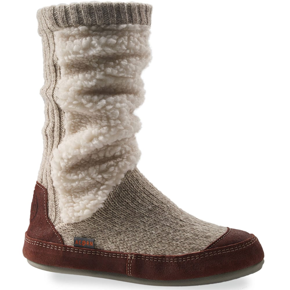 acorn women s slouch boot slipper sock buff popcorn