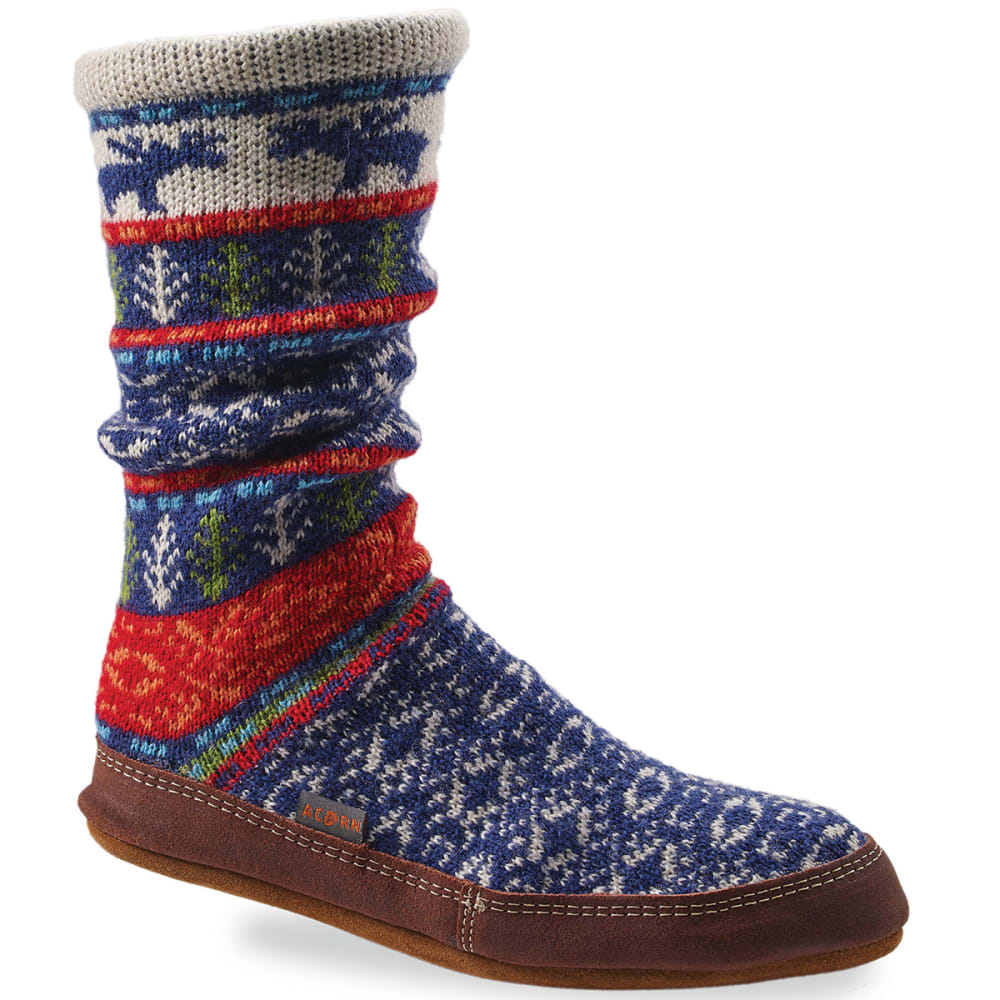ACORN Women's Slipper Socks, Maine Wood Jacquard - MAINE WOODS