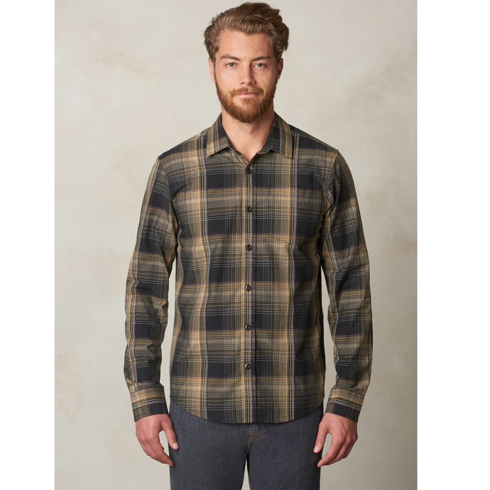 PRANA Men's Rennin Flannel Long-Sleeve Shirt - BLACK