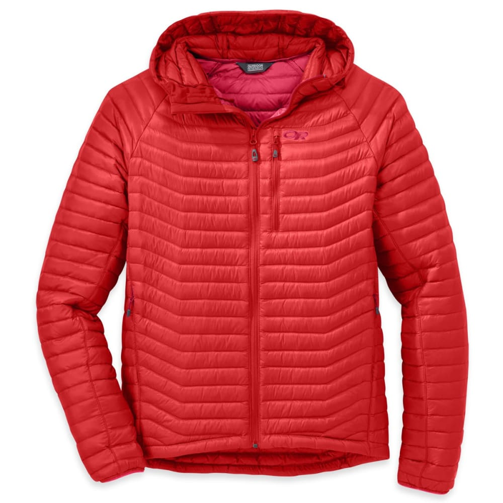 OUTDOOR RESEARCH Men's Verismo Hooded Down Jacket - HOT SAUCE