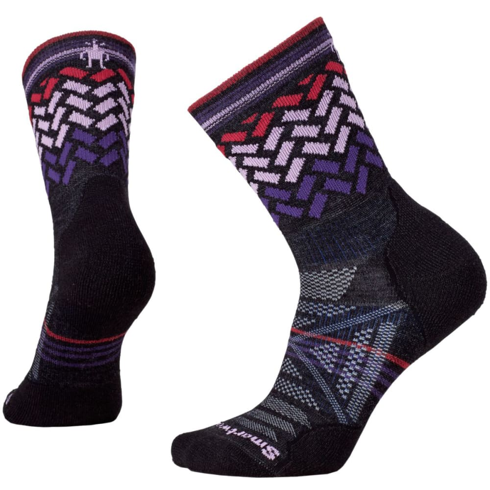 SMARTWOOL Women's PhD Outdoor Light Patterned Mid Crew Socks - CHARCOAL-003