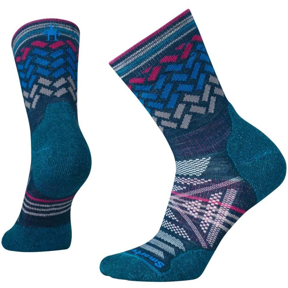 SMARTWOOL Women's PhD Outdoor Light Patterned Mid Crew Socks - GLACIAL BLUE-781