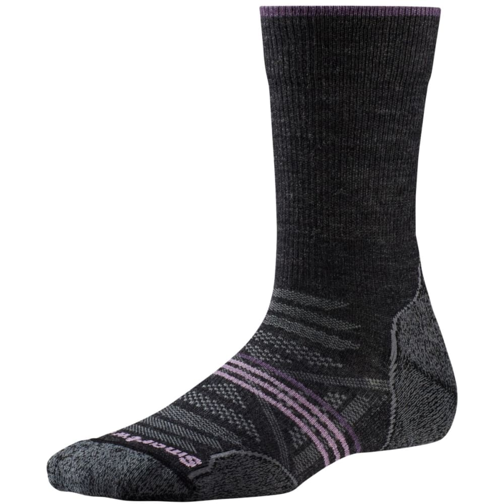SMARTWOOL Women's PhD Outdoor Light Crew Socks - CHARCOAL-003