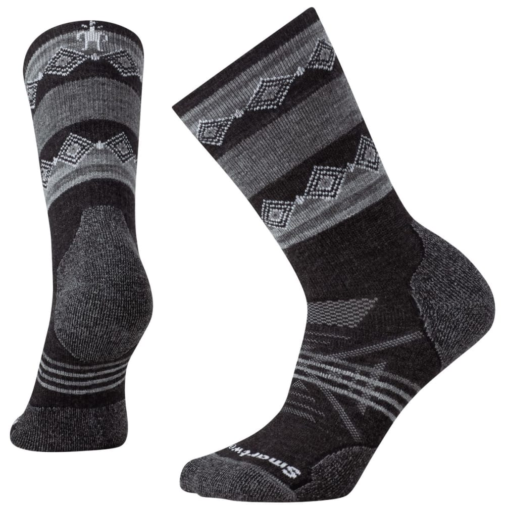 SMARTWOOL Women's PhD Outdoor Medium Patterned Crew Socks - CHARCOAL-003