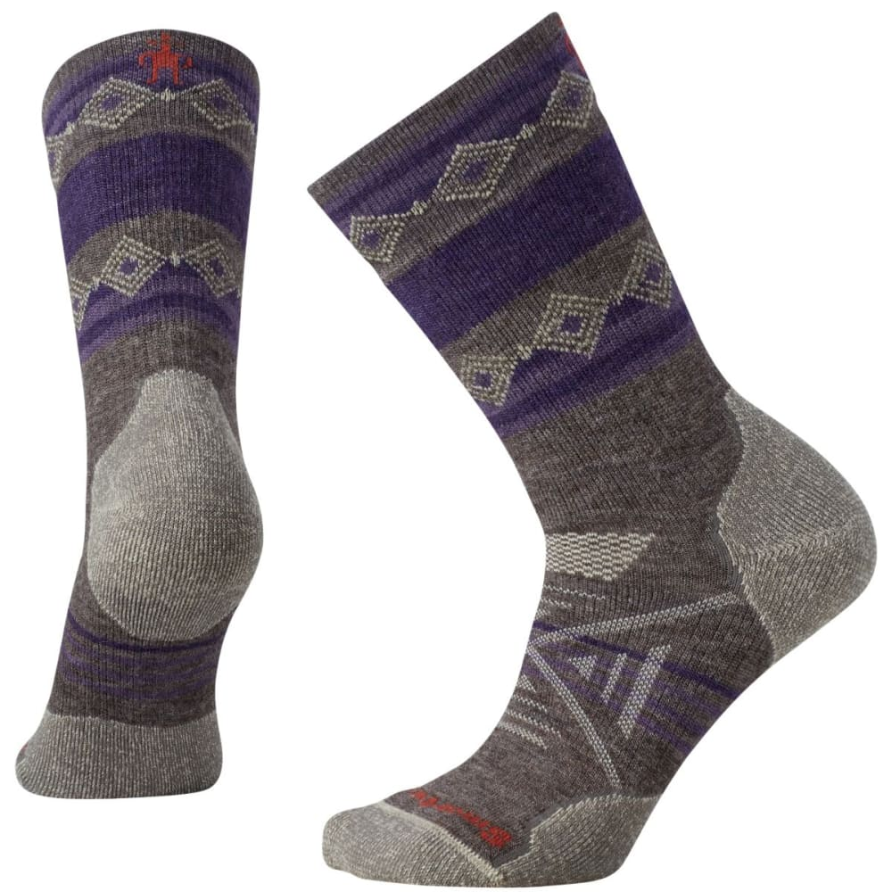 SMARTWOOL Women's PhD Outdoor Medium Patterned Crew Socks - TAUPE-236