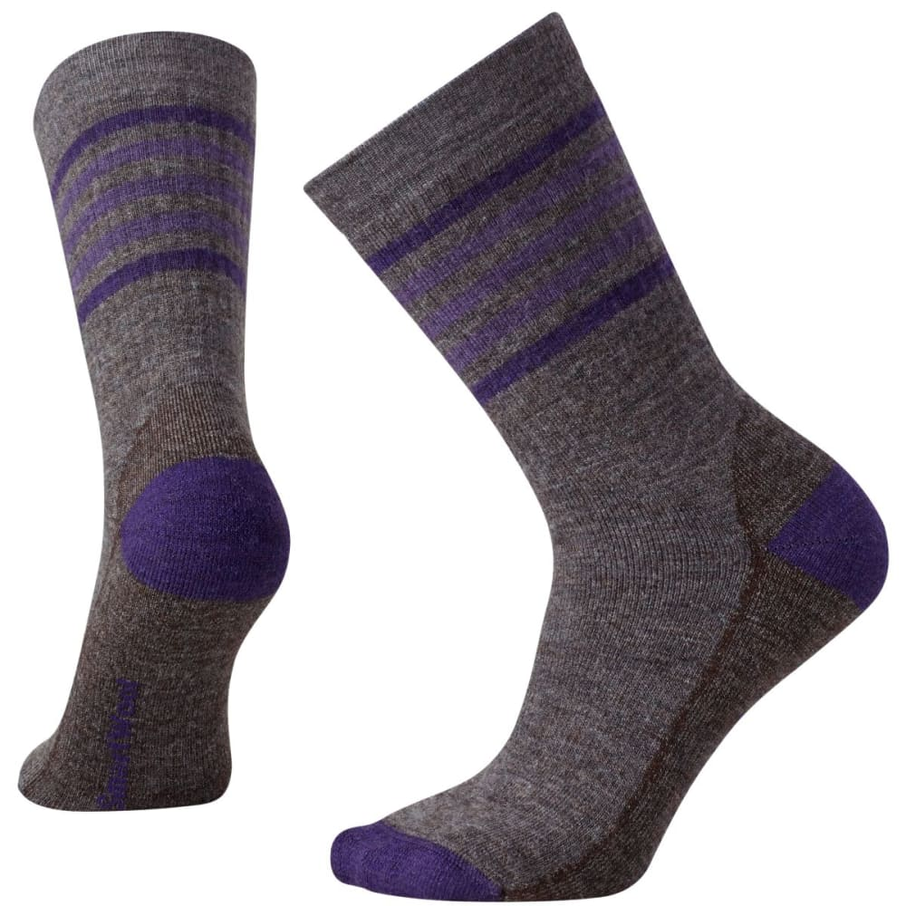 SMARTWOOL Women's Striped Hike Medium Crew Socks - TAUPE/MTN PURPL-386