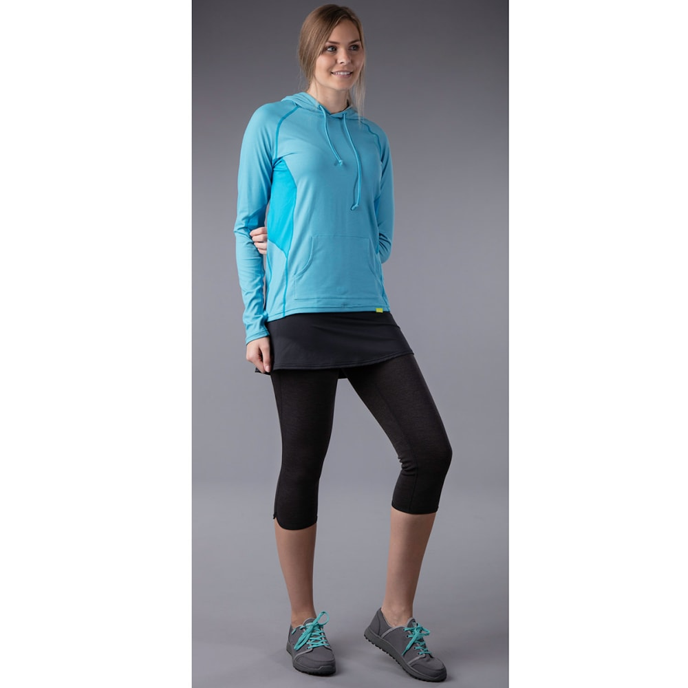 NRS Women's HydroSkin 0.5 Skirted Capri - CHARCOAL HEATHER