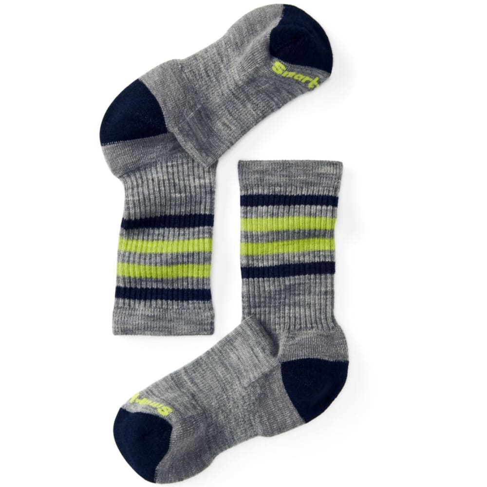 SMARTWOOL Kids' Striped Hike Light Crew Socks - LIGHT GREY-039