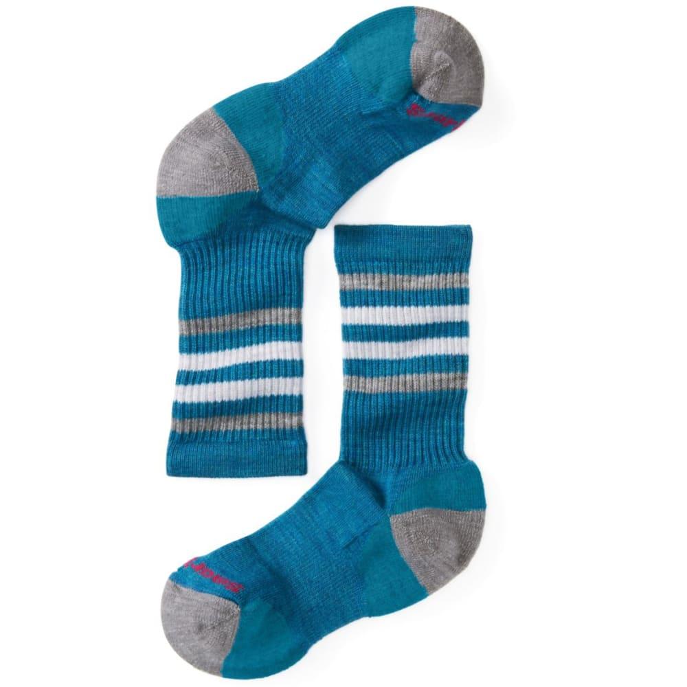 SMARTWOOL Kids' Striped Hike Light Crew Socks - GLACIAL BLUE-781