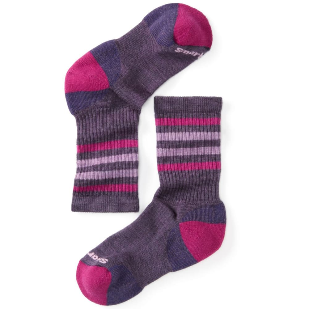 SMARTWOOL Kids' Striped Hike Light Crew Socks - DESERT PURP-284