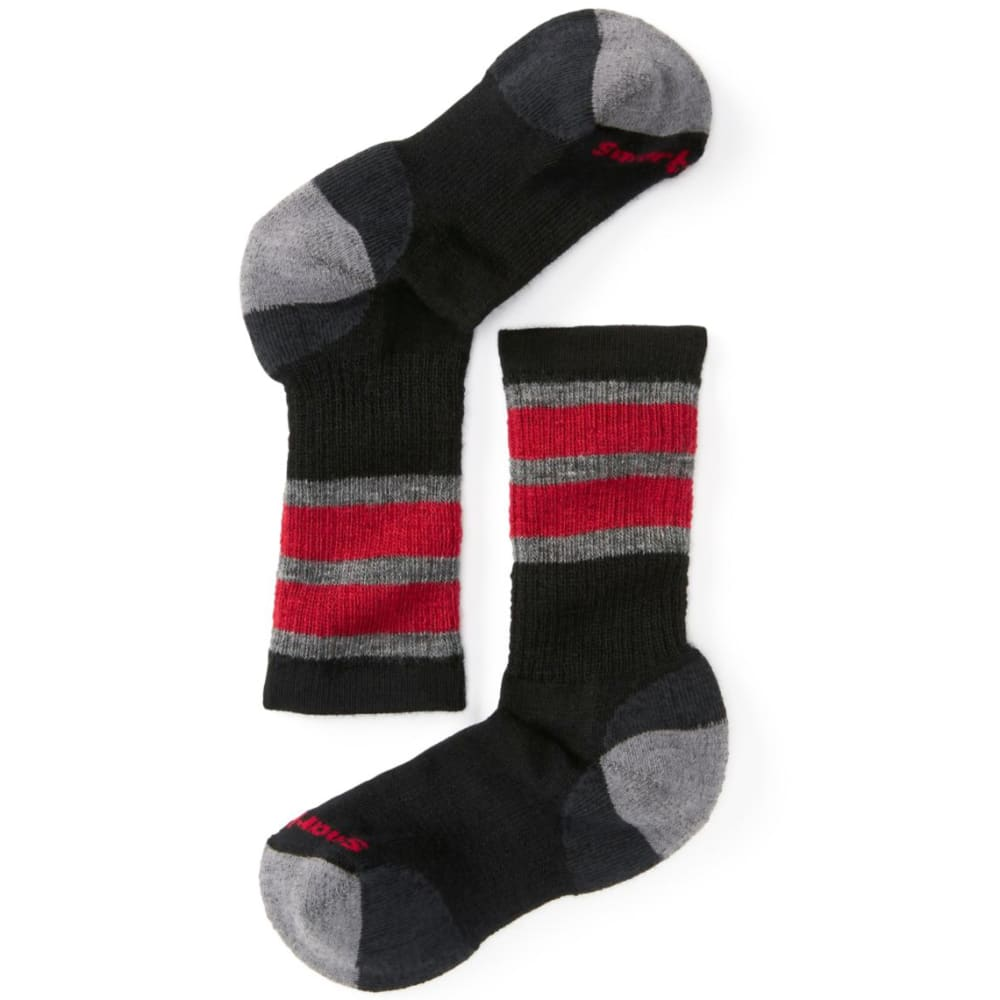 SMARTWOOL Kids' Striped Hike Medium Crew Socks - BLACK-001
