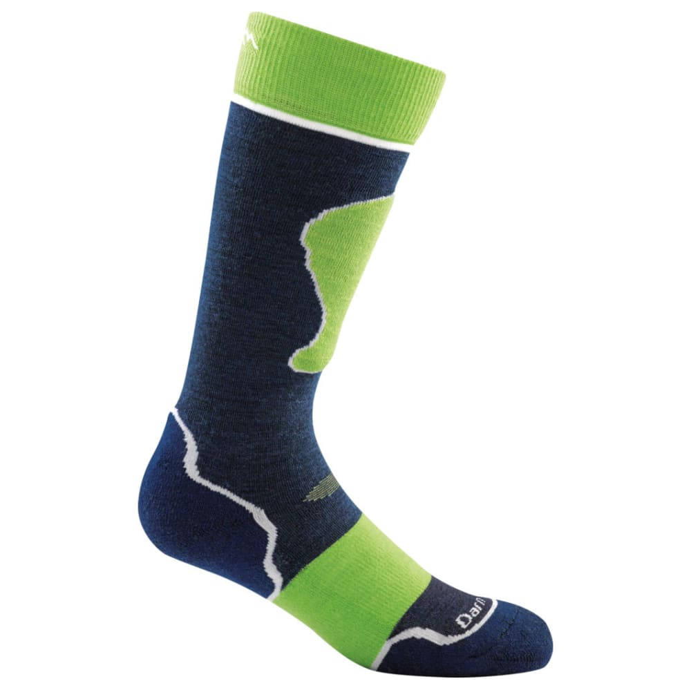 DARN TOUGH Boys' Jr. Over-the-Calf Padded Cushion Ski Socks - NAVY/GREEN