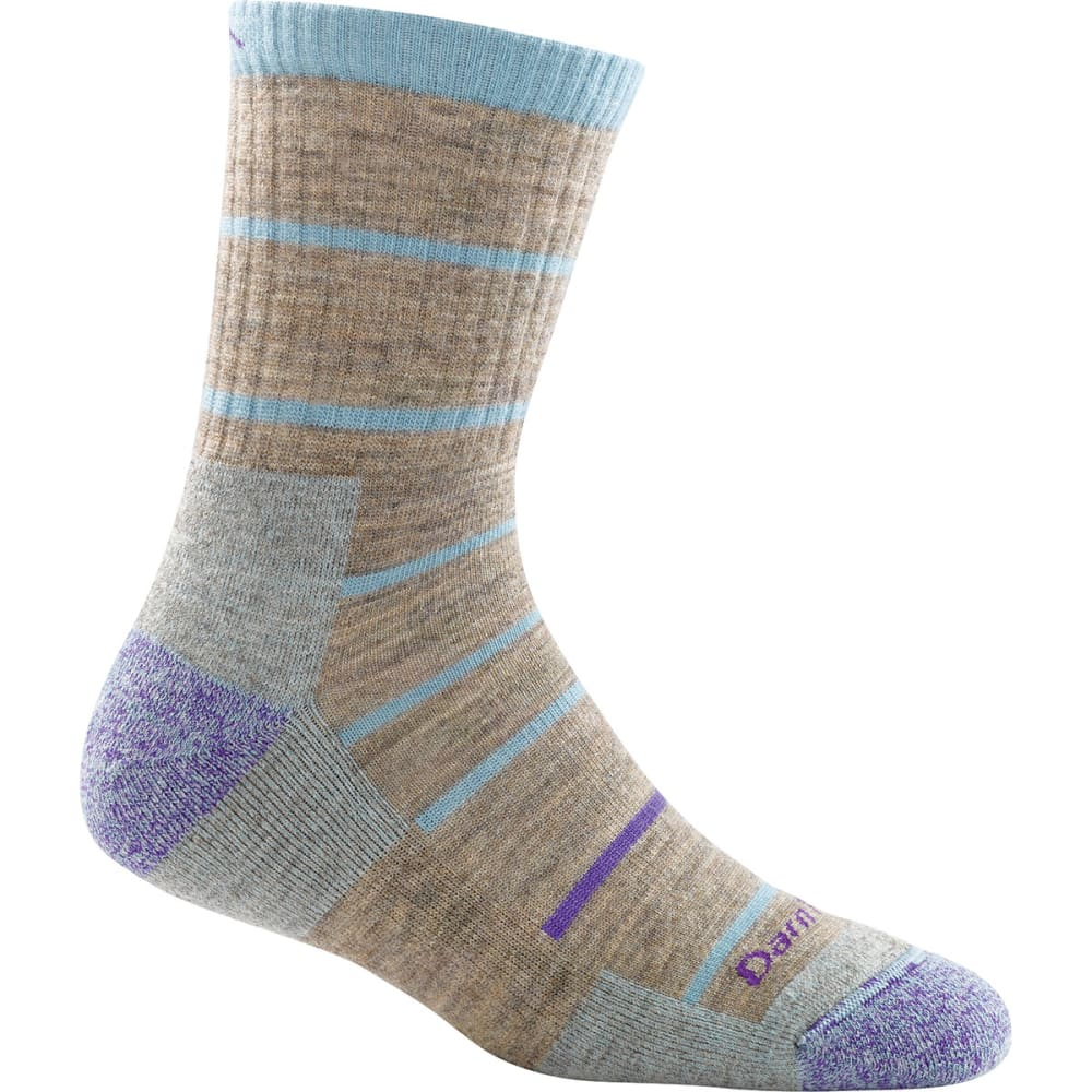 DARN TOUGH Women's Summit Stripe Micro Crew Cushion Socks - PEBBLE