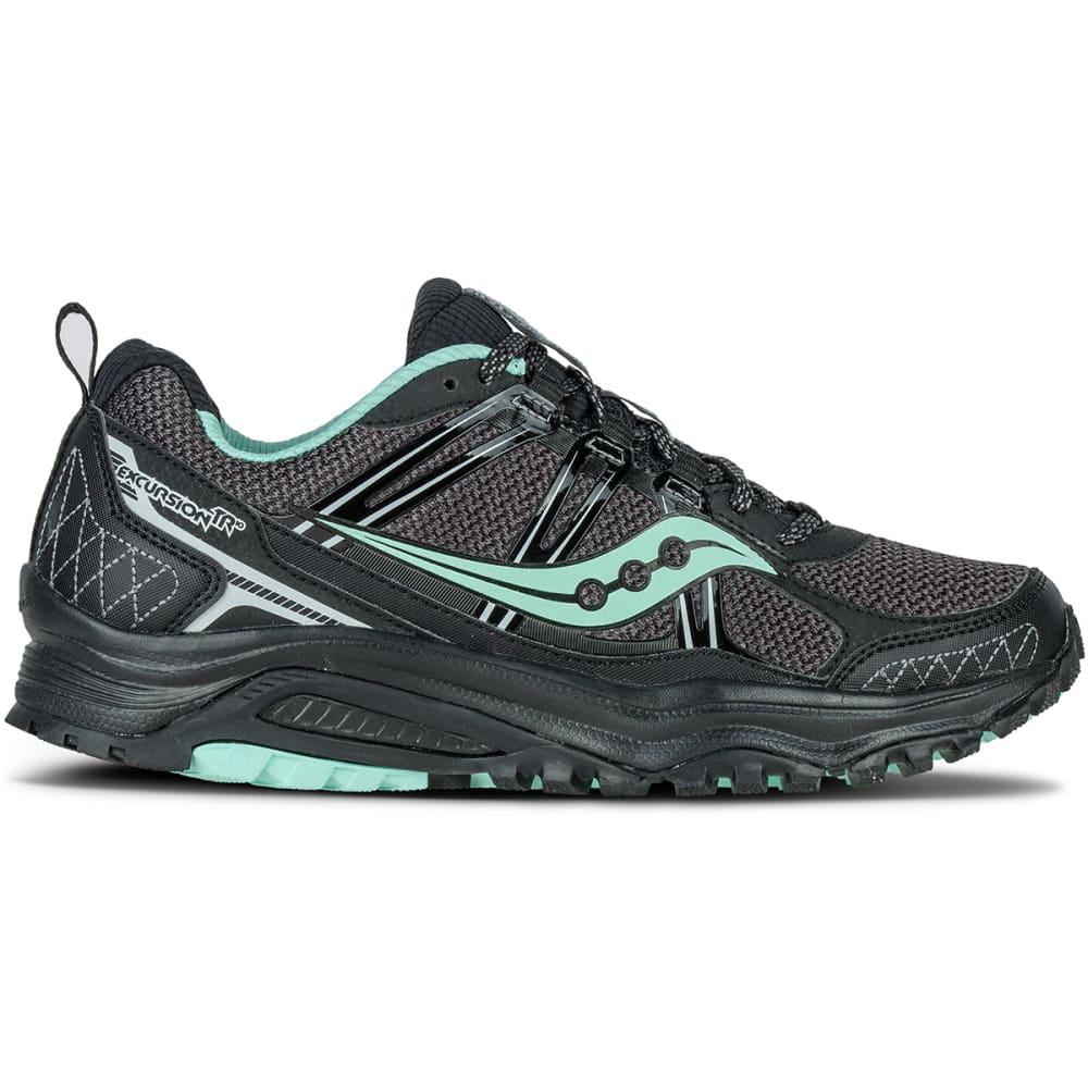 SAUCONY Women's Excursion TR10 Trail Running Shoes, Black/Mint - BLACK/MINT