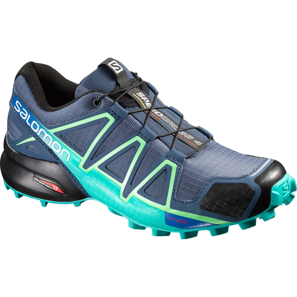 SALOMON Women's Speedcross 4 Trail Running Shoes, Slate Blue/Spa Blue/Fresh Green - S BLUE/S BLUE/F GRN