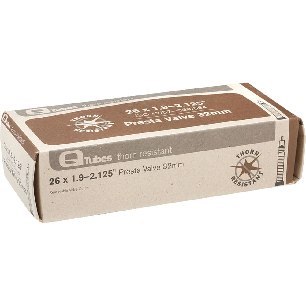 "Q-TUBES 26"" x 1.9-2.125"" 32mm Presta Valve Thorn Resistant Bicycle Tubes - NO COLOR"