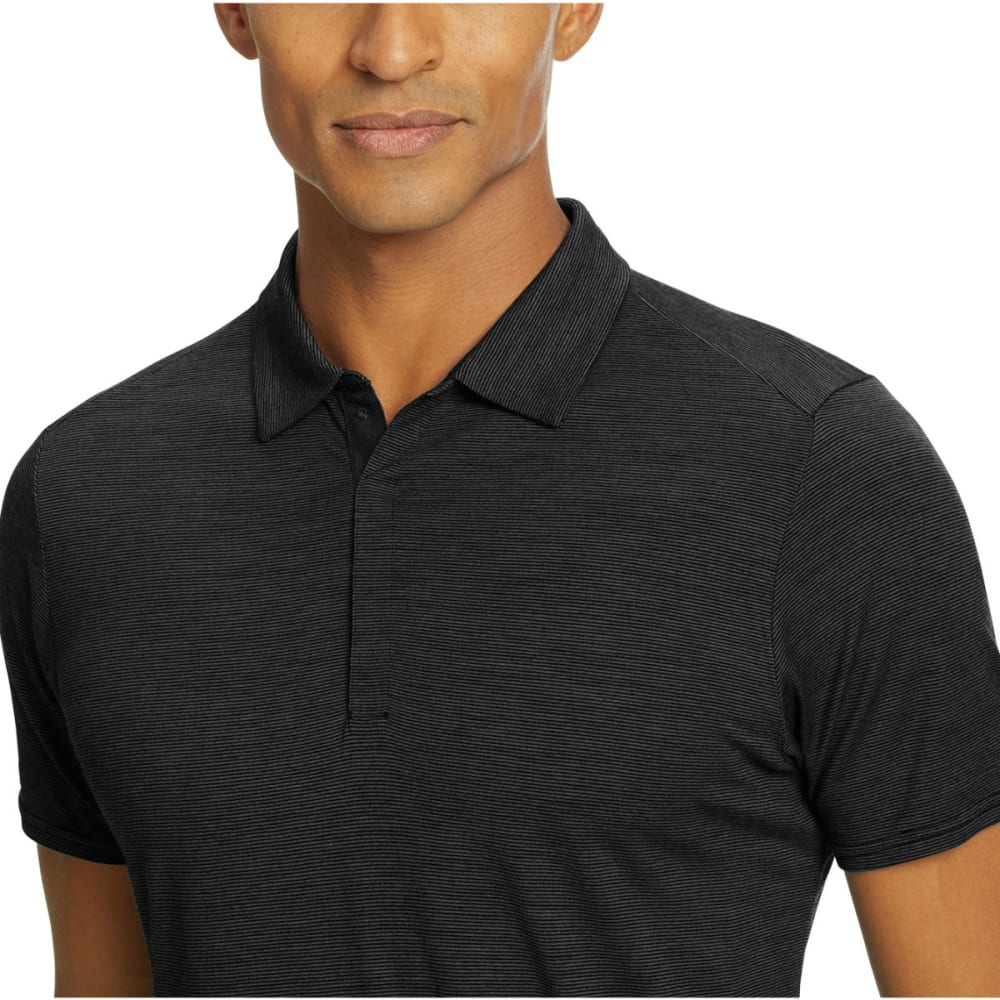 NAU Men's M2 Short-Sleeve Snap Polo - CAVIAR STRIPE