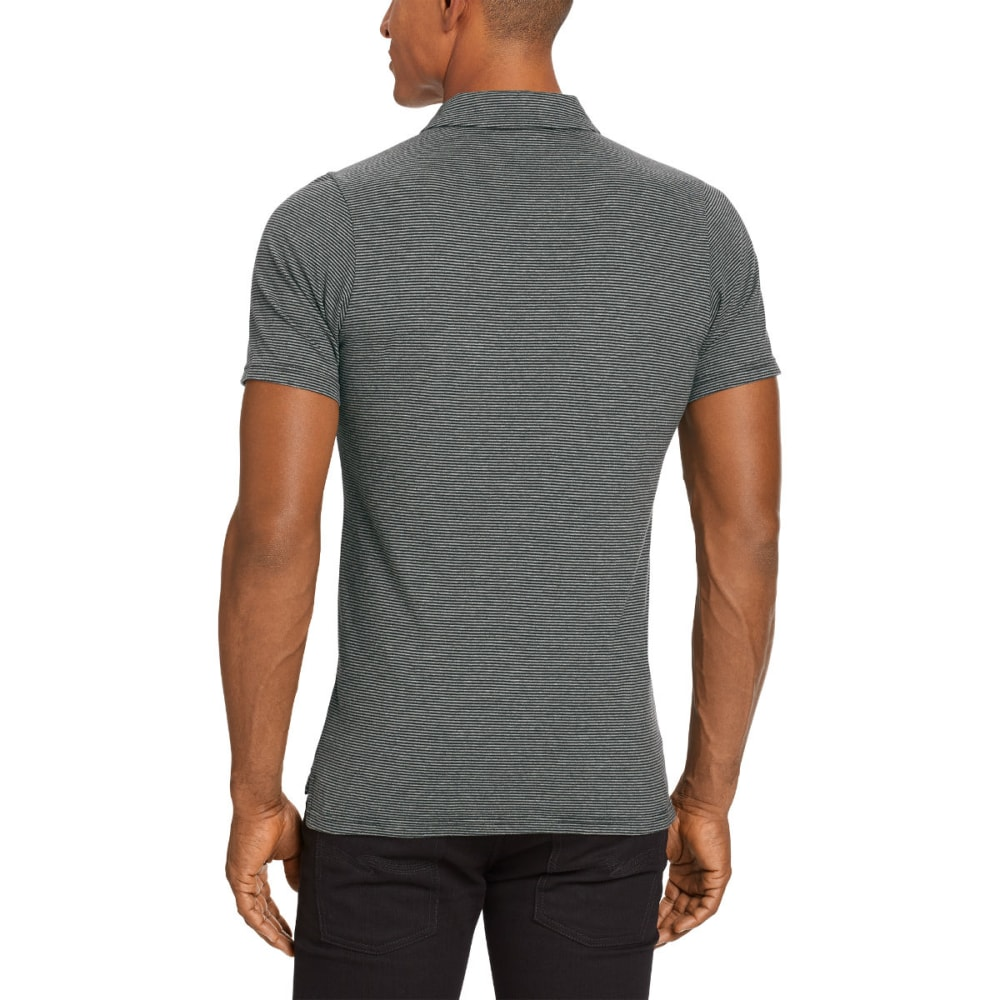 NAU Men's Echo Short-Sleeve Polo - CAVIAR STRIPE
