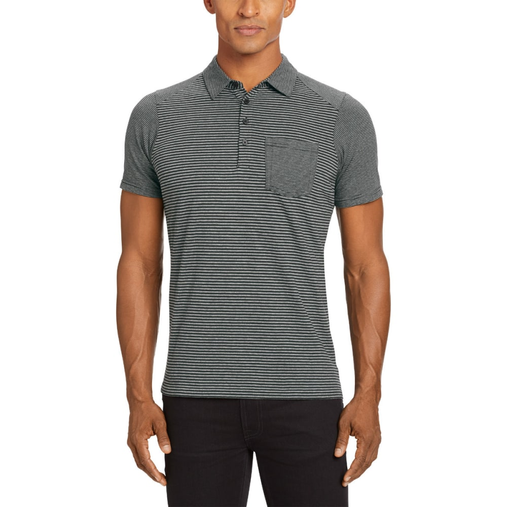 NAU Men's Echo Short-Sleeve Polo - CAVIAR STRIPE