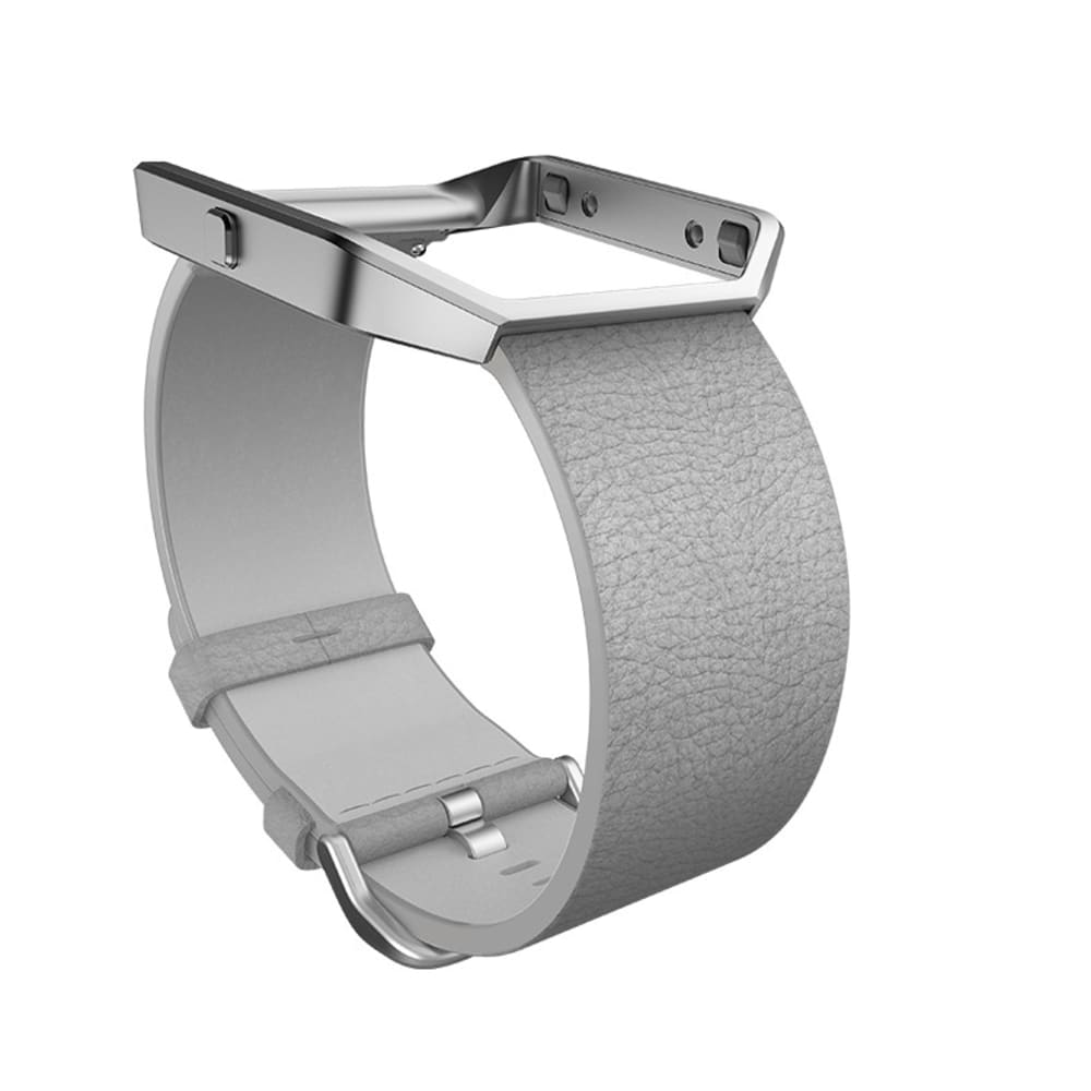 FITBIT Blaze Leather Accessory Band - Mist Grey Leather, Large - GREY