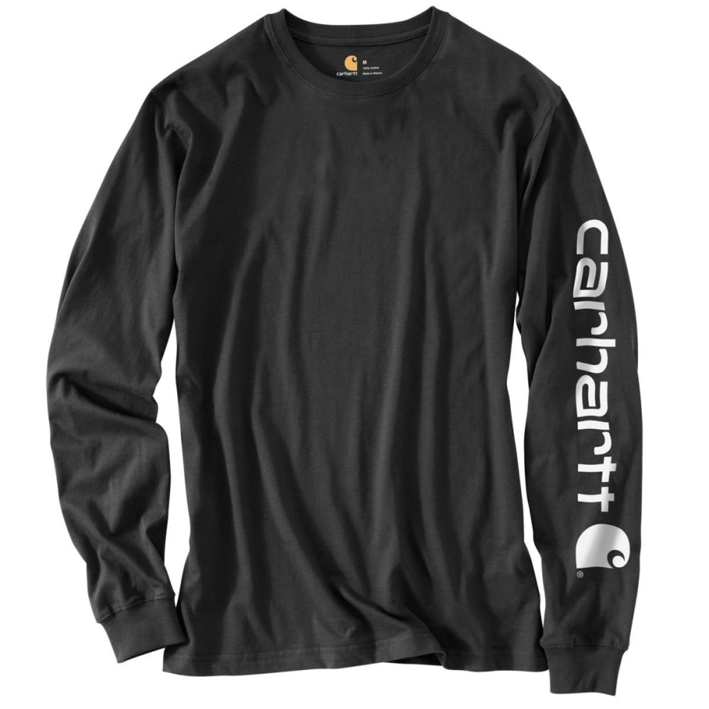 CARHARTT Men's Long-Sleeve Graphic Logo Tee - BLK BLACK