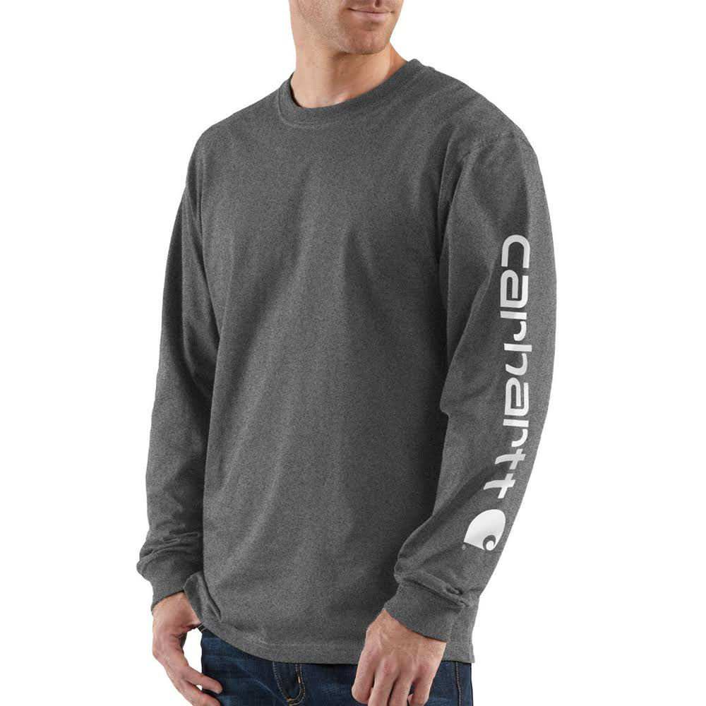 CARHARTT Men's Long-Sleeve Graphic Logo Tee - CRH CARBON HEATHER