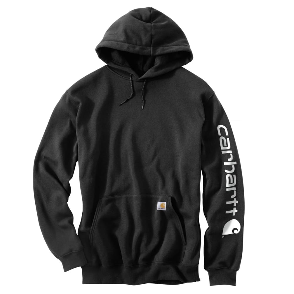 CARHARTT Men's Midweight Hooded Logo Sweatshirt - BLK BLACK