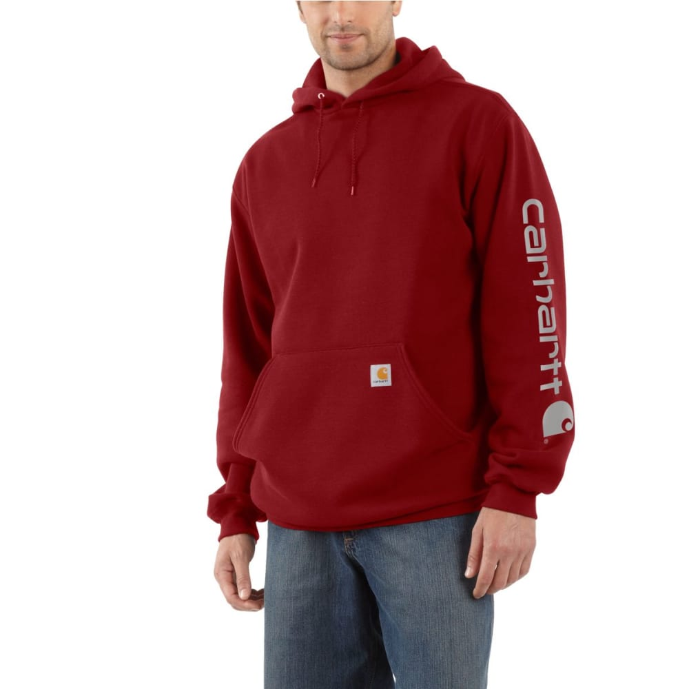 CARHARTT Men's Midweight Hooded Logo Sweatshirt - DK CRIMSON 608